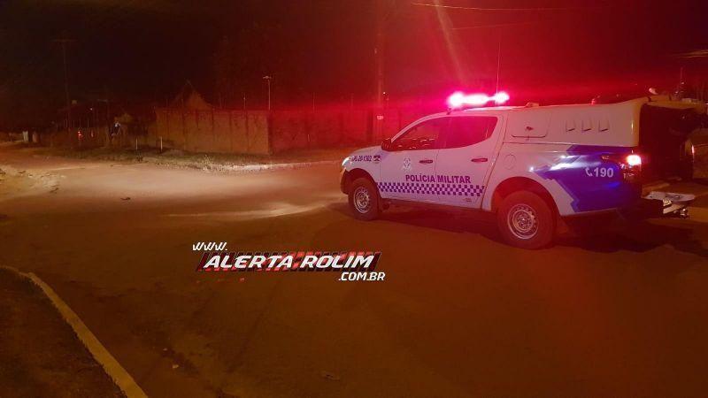 Motociclista foge do local após colidir contra outra moto, mas é abordado por Guarnição da PM em Rolim de Moura