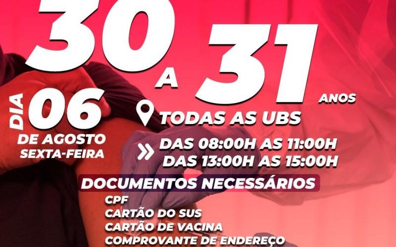 Rolim de Moura: Vacinação contra covid-19 para pessoas com idade entre 30 a 31 anos será nesta sexta (06)