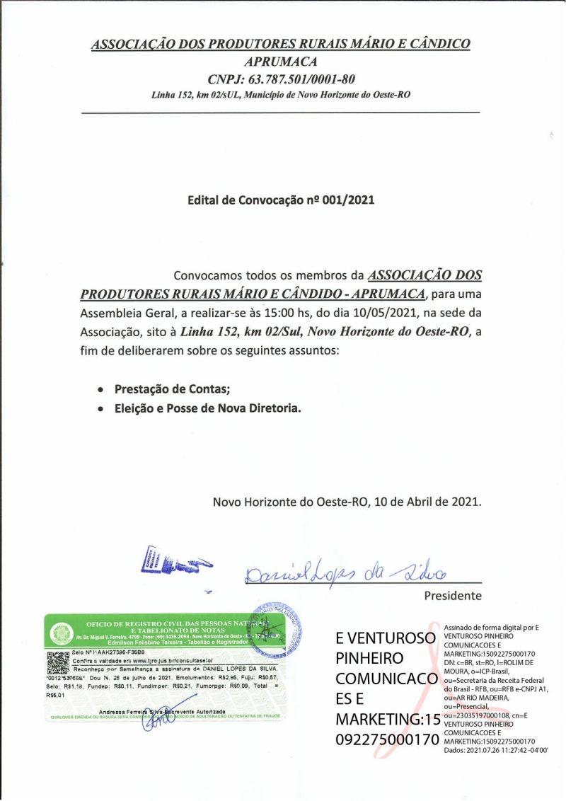 EDITAL DE CONVOCAÇÃO - APRUMACA