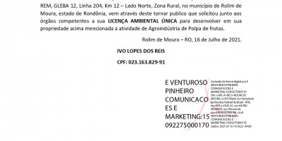 LICENÇA AMBIENTAL ÚNICA – AGROINDUSTRIA POLPA DE FRUTA - IVO LOPES DOS REIS