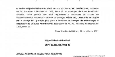 PEDIDO DE LICENÇA PRÉVIA-LICENÇA DE INSTALAÇÃO - LICENÇA DE OPERAÇÃO  -  Miguel...