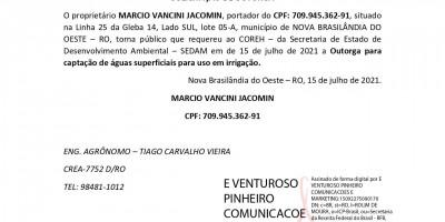 SOLICITAÇÃO DE OUTORGA - MARCIO VANCINI JACOMIN