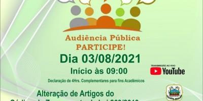 Rolim de Moura: Audiência Pública para debater alteração de artigos do Código de...