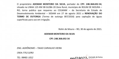 RENOVAÇÃO DO TERMO DE OUTORGA - ADEMAR MONTEIRO DA SILVA