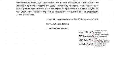 SOLICITAÇÃO DE OUTORGA - Atevaldo Souza da Silva
