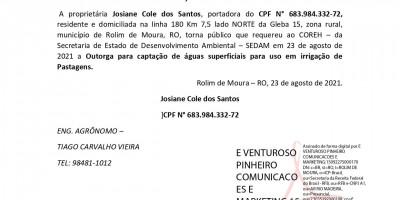 SOLICITAÇÃO DE OUTORGA  - Josiane Cole dos Santos