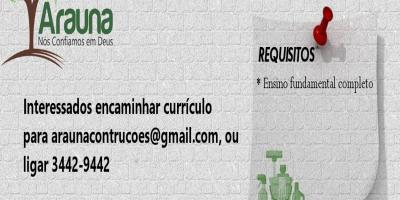 VAGAS DE EMPREGO - PCDs - ARAUNA - AGOSTO 21