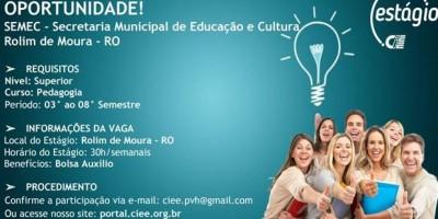 Rolim de Moura: SEMEC oferece vagas de Estágio Remunerado na área de Pedagogia
