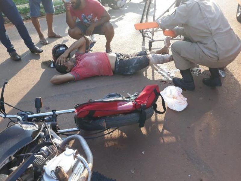 Motociclista tem pé dilacerado em grave acidente em Cacoal; veja o vídeo