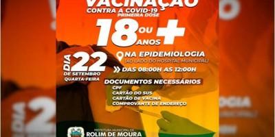 Rolim de Moura: Vacinação contra covid-19 para pessoas com mais de 18 anos será na...