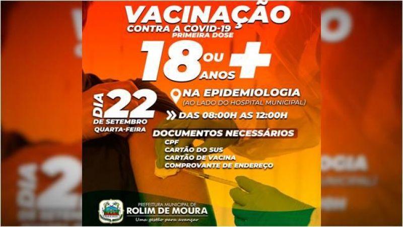Rolim de Moura: Vacinação contra covid-19 para pessoas com mais de 18 anos será na próxima quarta (22)