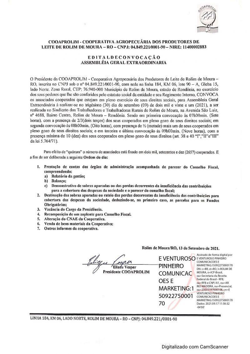 EDITAL DE CONVOCAÇÃO - ASSEMBLEIA GERAL EXTRAORDINÁRIA - COOAPROLIM