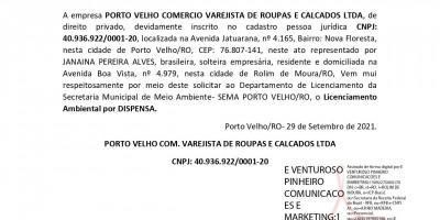 LICENCIAMENTO AMBIENTAL POR DISPENSA - PORTO VELHO COMERCIO VAREJISTA DE ROUPAS E...