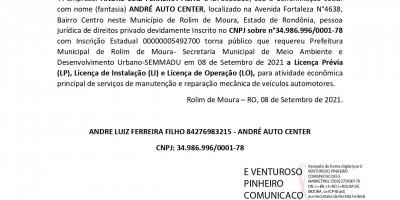 PEDIDO LICENÇA PRÉVIA, INSTALAÇÃO E OPERAÇÃO - ANDRE LUIZ FERREIRA FILHO
