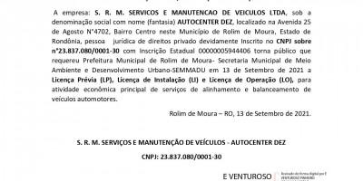 PEDIDO LICENÇA PRÉVIA, INSTALAÇÃO E OPERAÇÃO  - S. R. M. SERVICOS E MANUTENCAO DE...