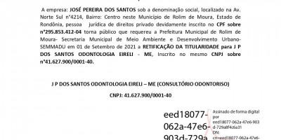 PEDIDO RETIFICAÇÃO DE TITULARIDADE - CONSULTÓRIO ODONTORISO