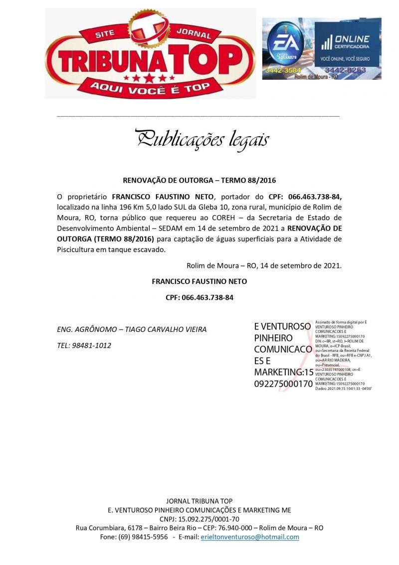RENOVAÇÃO DE OUTORGA – TERMO 88/2016 - FRANCISCO FAUSTINO NETO