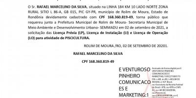 SOLICITAÇÃO DE LICENÇAS PRÉVIA, DE INSTALAÇÃO E DE OPERAÇÃO - RAFAEL MARCELINO DA...