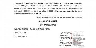 SOLICITAÇÃO DE OUTORGA - JOSÉ BIROQUE VINHATI