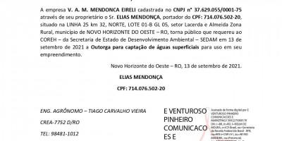 SOLICITAÇÃO DE OUTORGA - V. A. M. MENDONCA EIRELI