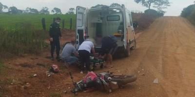 Motociclista fica ferido após acidente de moto na zona rural de Nova Brasilândia