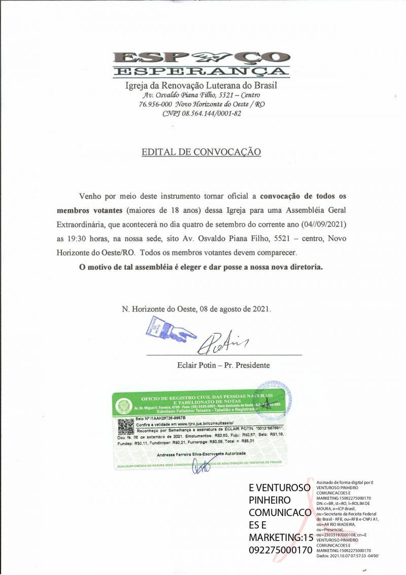 EDITAL DE CONVOCAÇÃO - ESPAÇO ESPERANÇA