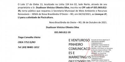 - LICENÇA PRÉVIA e LICENÇA DE INSTALAÇÃO - DUALISSON VINICIUS OLIVEIRA SILVA