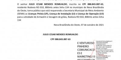 PEDIDO DE LICENÇA PRÉVIA, LICENÇA DE INSTALAÇÃO E LICENÇA DE OPERAÇÃO - JULIO...