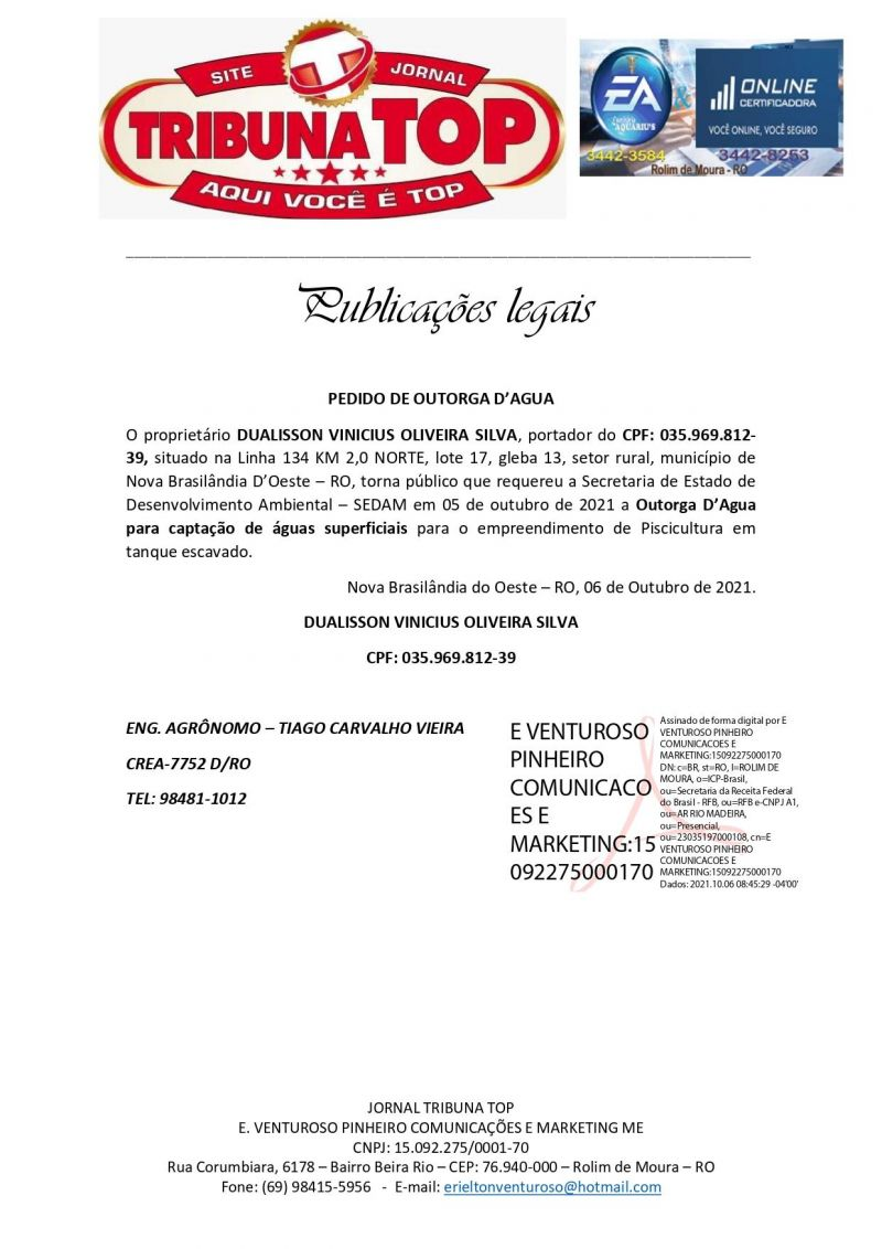 PEDIDO DE OUTORGA D'AGUA - DUALISSON VINICIUS OLIVEIRA SILVA