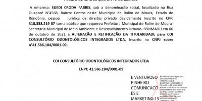 PEDIDO DE RETIFICAÇÃO DA TITULARIDADE  - SUEDI CRODA FABRIS