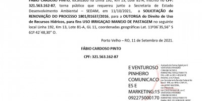 SOLICITAÇÃO DE OUTORGA - FÁBIO CARDOSO PINTO