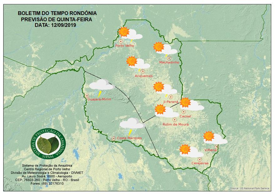 PREVISÃO: Sipam prevê frente fria para amenizar as temperaturas de Rondônia