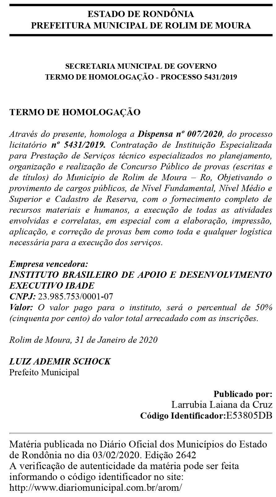 Concurso da Prefeitura de Rolim de Moura será realizado pela IBADE