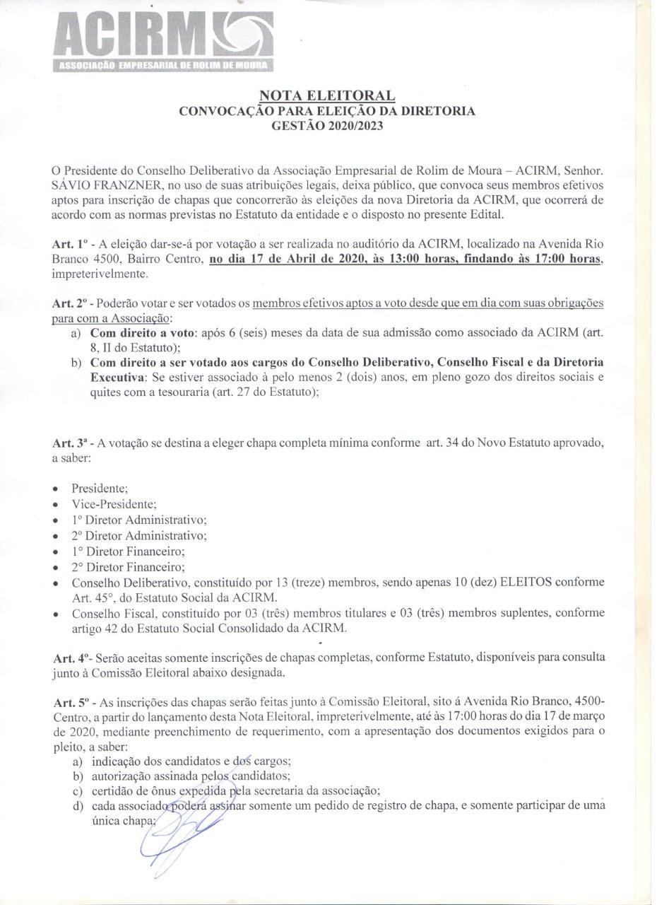 ROLIM DE MOURA: ACIRM convoca membros efetivos para eleição da nova diretoria