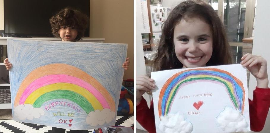 Arco-íris da esperança: crianças espalham cartazes com mensagens pelo mundo