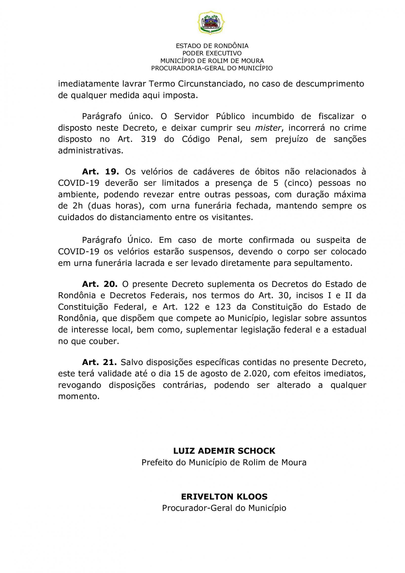 Prefeitura de Rolim de Moura publica novo decreto em combate ao covid-19; veja o que muda