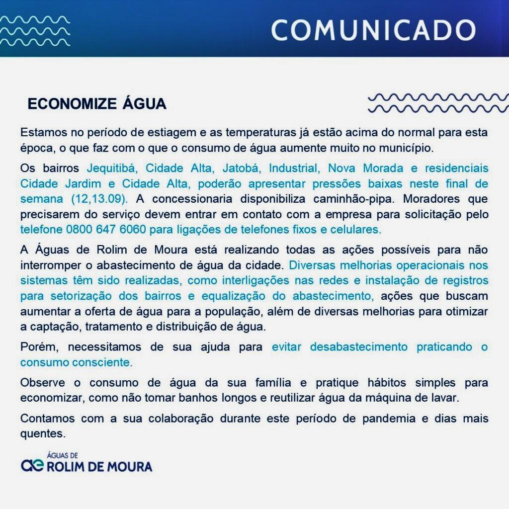 Águas de Rolim informa que 07 bairros podem passar por dificuldades no abastecimento