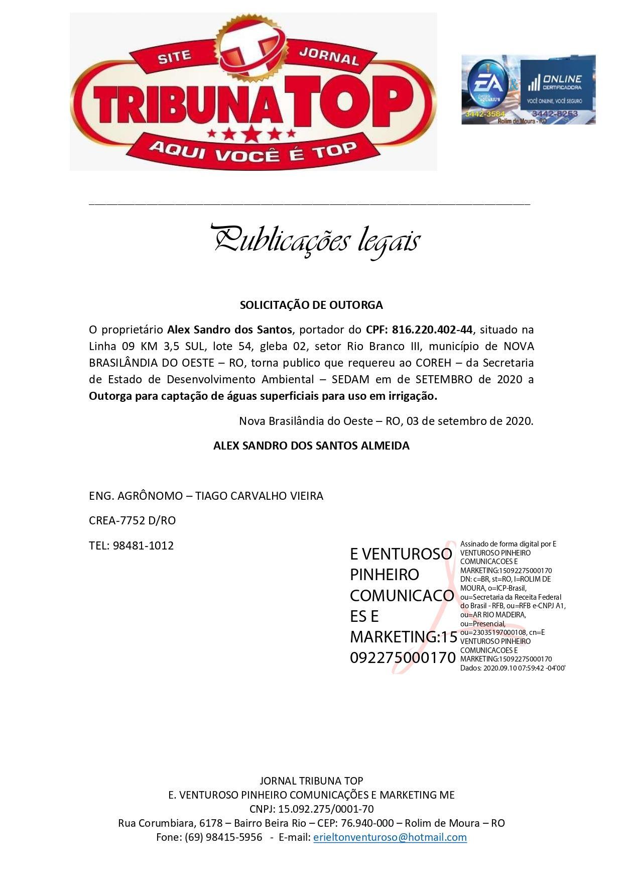 SOLICITAÇÃO DE OUTORGA - Alex Sandro dos Santos - TRIBUNA TOP