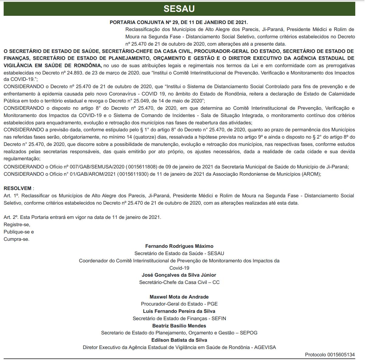 Governo volta atrás e reclassifica Rolim de Moura, Alta Floresta e outros 2 municípios para Fase 02; veja o decreto