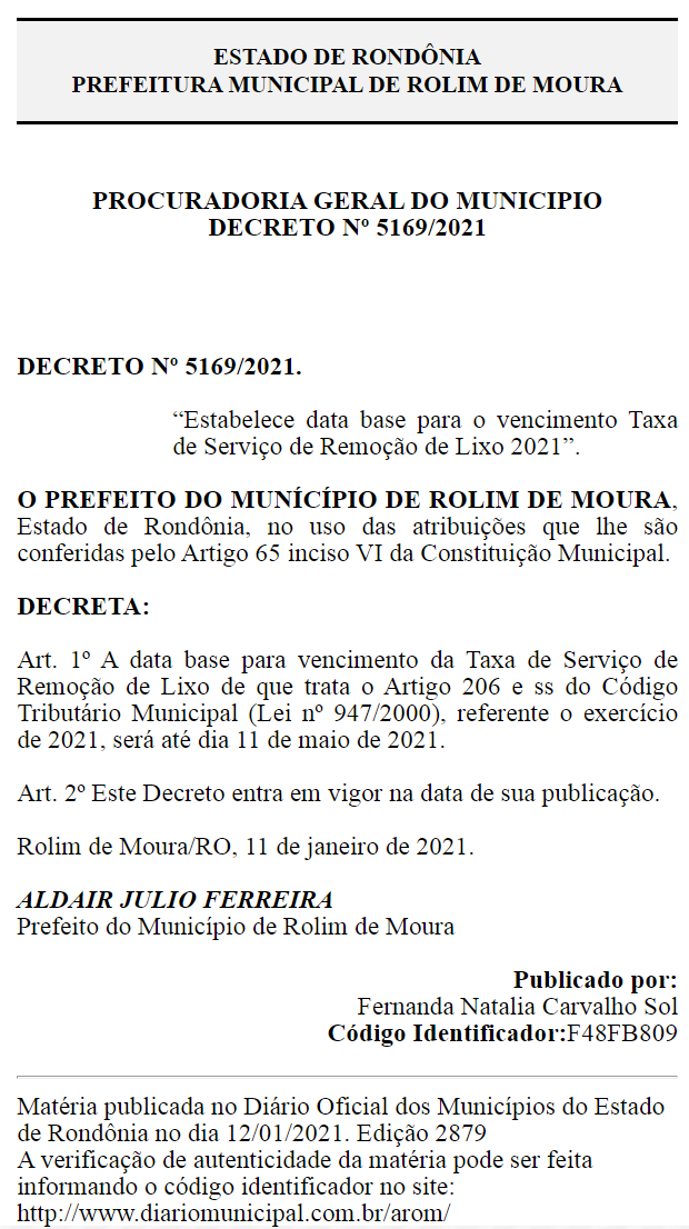 Rolim de Moura: IPTU 2021 poderá ser pago com até 20% de desconto; veja datas de vencimento
