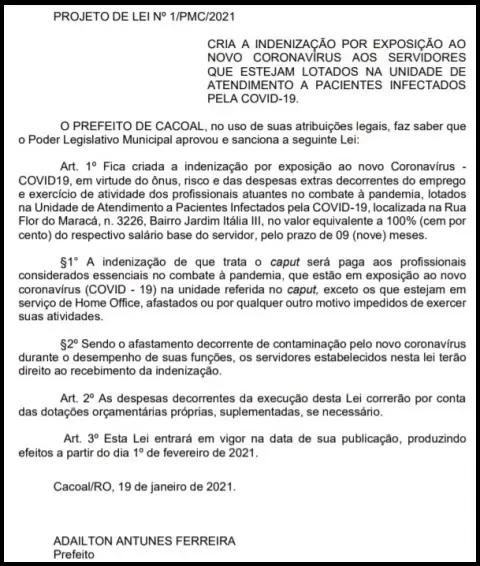 Prefeito de Cacoal quer indenização de 100% do salário a profissionais que combatem pandemia