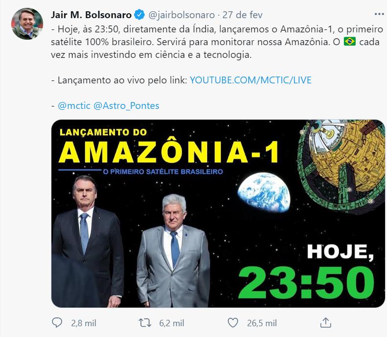 Ao divulgar lançamento do primeiro satélite brasileiro, Bolsonaro usa imagem dos quadrinhos de