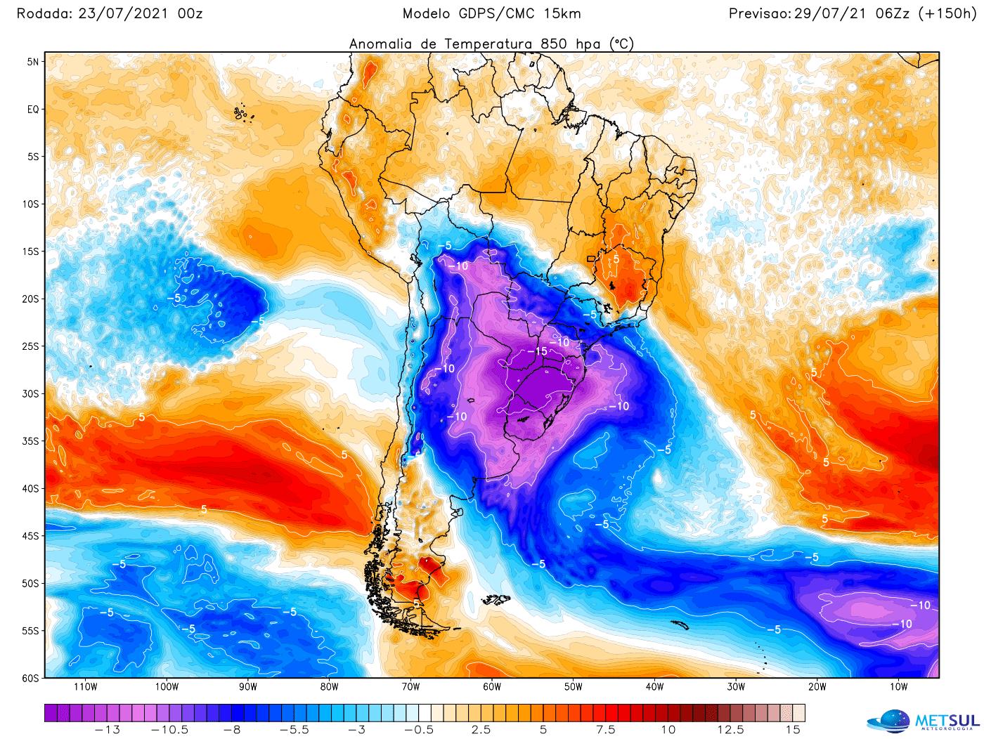 Nova frente fria promete fazer temperaturas despencarem na próxima semana