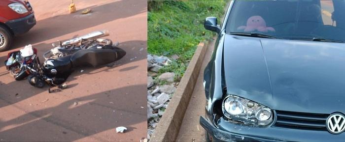 Motociclista tem pé dilacerado em grave acidente em Cacoal