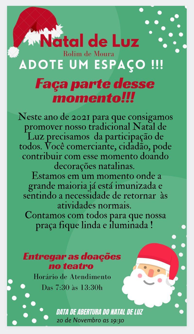 Rolim de Moura: Prefeitura pede apoio e doação de materiais decorativos para execução do Natal de Luz 2021
